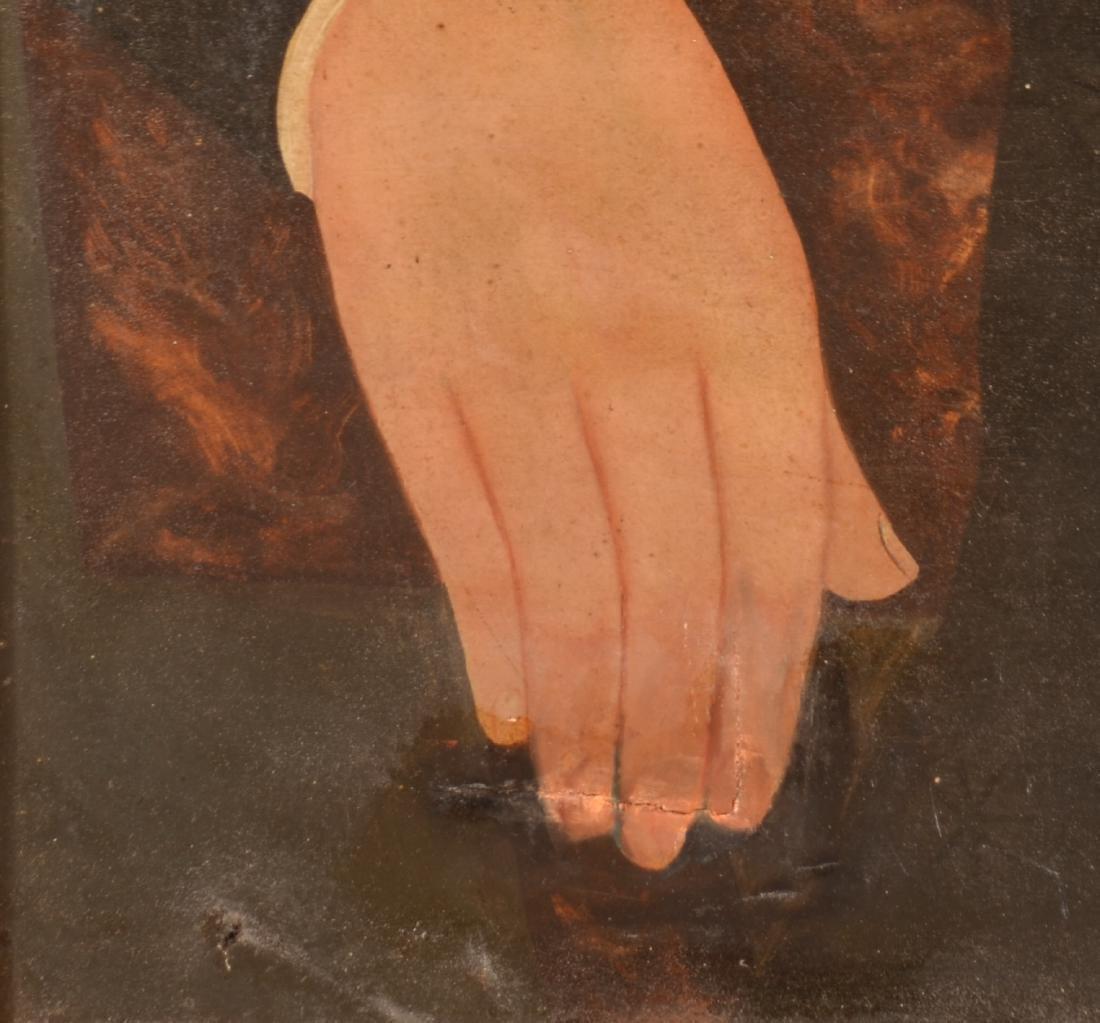 Pair of Oil on Canvas Folk Art Portrait Paintings. - 6