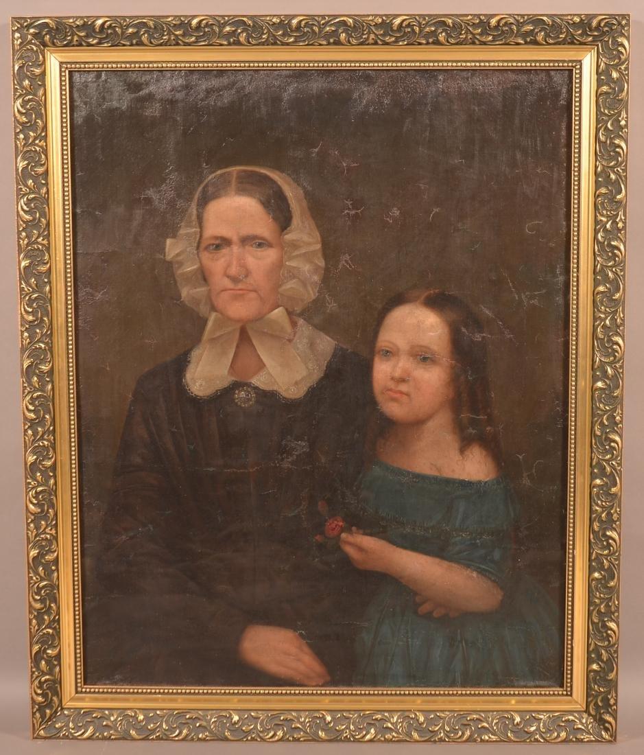 19th Century Oil on Canvas Double Portrait Painting.