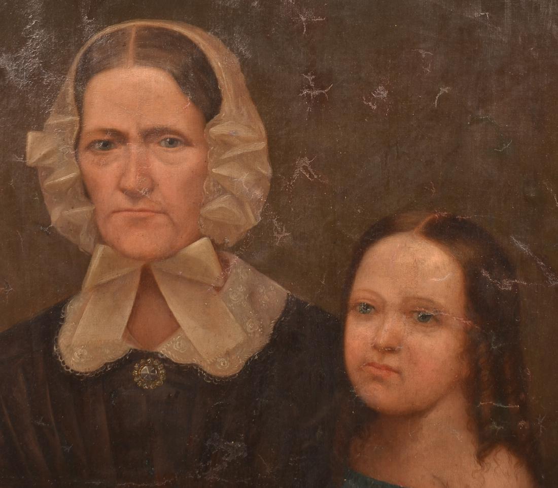 19th Century Oil on Canvas Double Portrait Painting. - 2