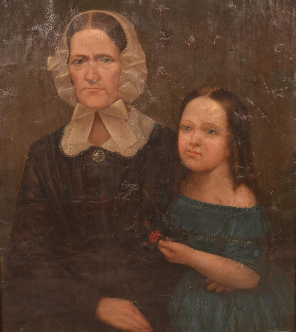 19th Century Oil on Canvas Double Portrait Painting. - 3