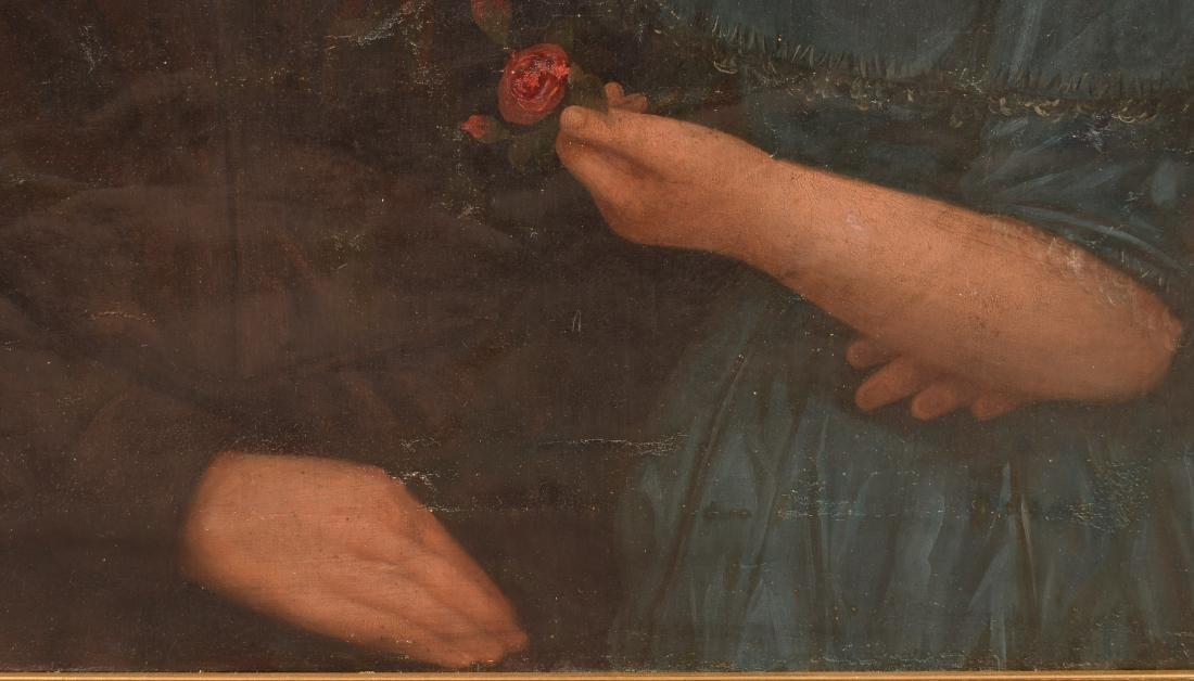 19th Century Oil on Canvas Double Portrait Painting. - 4