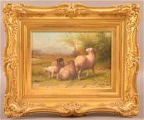 George Riecke Oil on Canvas, Sheep & Landscape Scene.