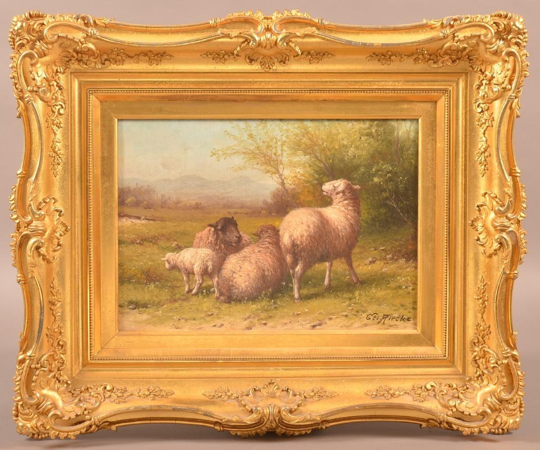 George Riecke Oil on Canvas, Sheep & Landscape Scene.
