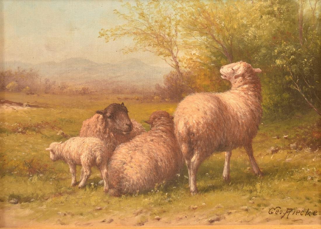 George Riecke Oil on Canvas, Sheep & Landscape Scene. - 2