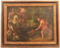 Unsigned Baroque Style Boar Hunting Scene Painting.