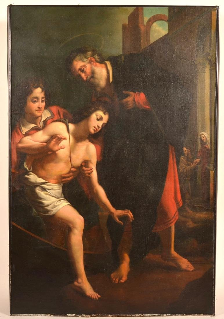 Baroque Religious Scene Oil on Canvas Painting.