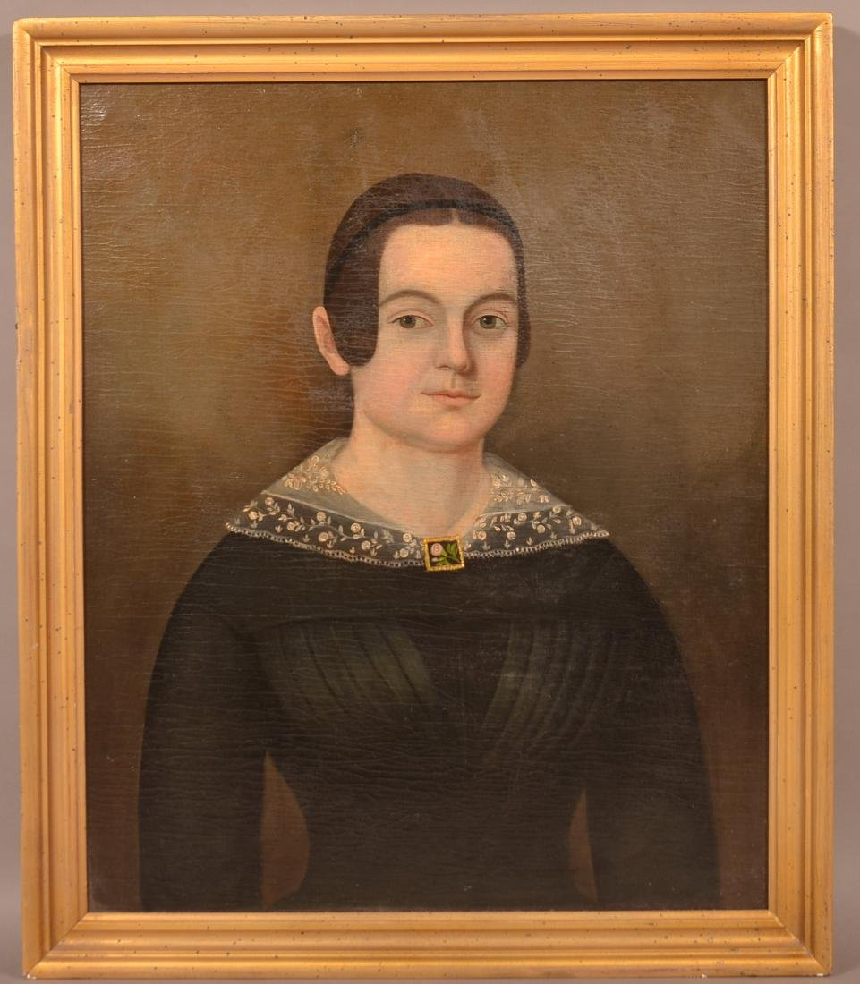 19th Century Oil Portrait Painting of a Young Woman.