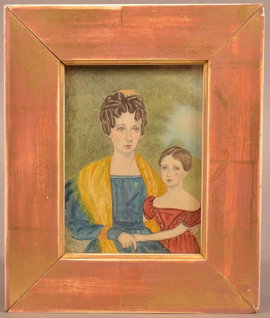Folk Art Watercolor on Paper Double Portrait.