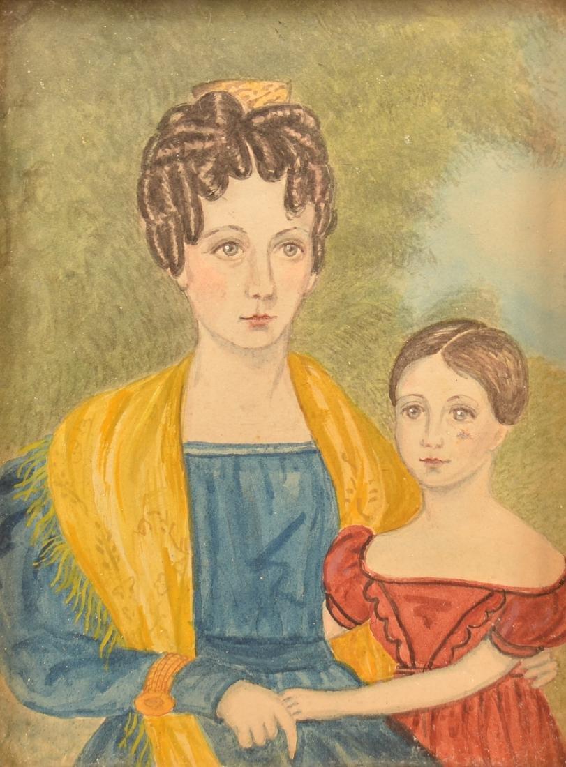 Folk Art Watercolor on Paper Double Portrait. - 2