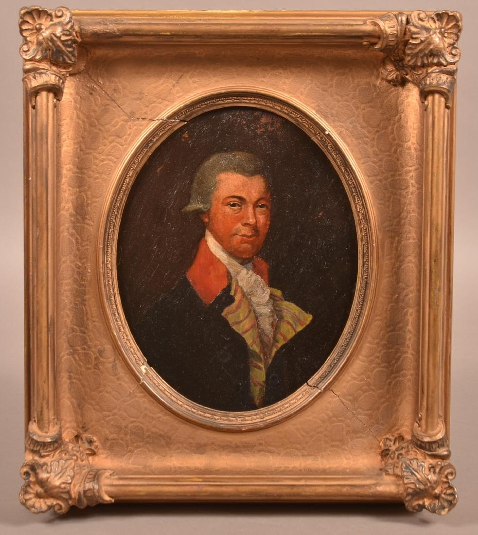 19th Century Oval Oil on Board Portrait of a Gentleman.