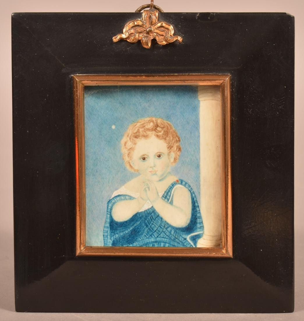 19th Century Small Portrait Painting of a Child.