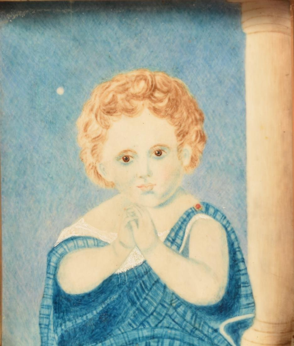 19th Century Small Portrait Painting of a Child. - 2