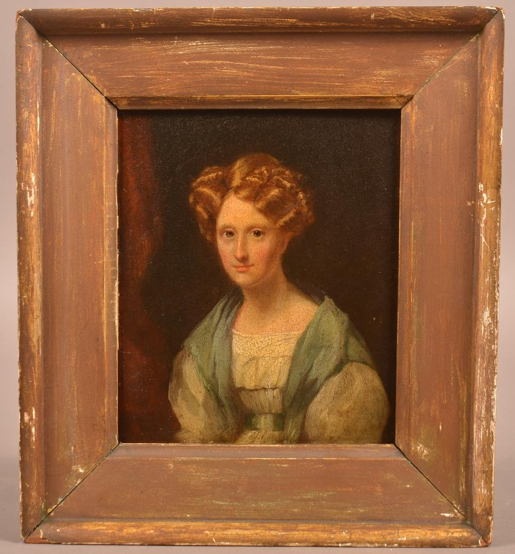 19th Cent. Oil on Paper Board Portrait of a Young