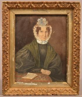 19th Cent. Watercolor on Paper Quaker Woman Portrait.