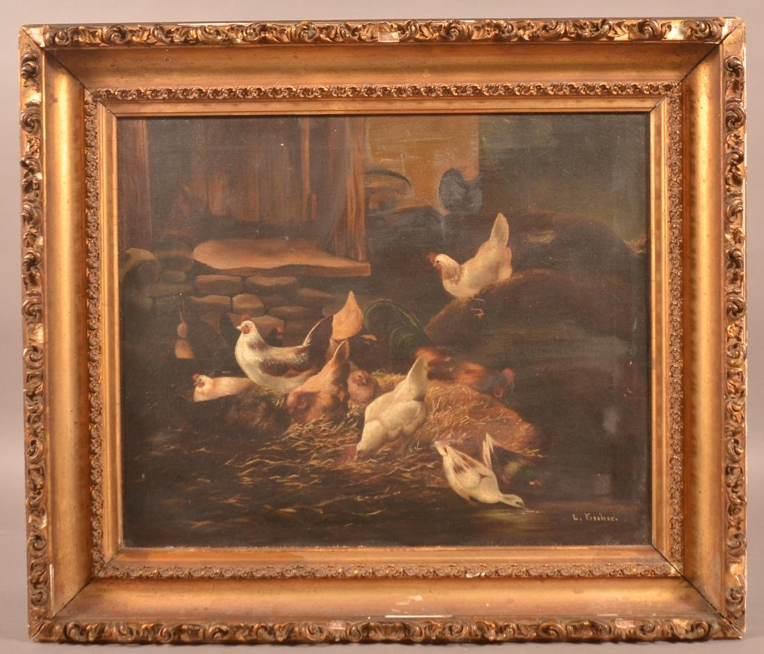 L. Fischer Oil on Canvas Chickens & Ducks Barnyard