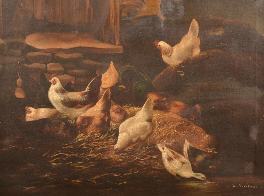 L. Fischer Oil on Canvas Chickens & Ducks Barnyard - 2