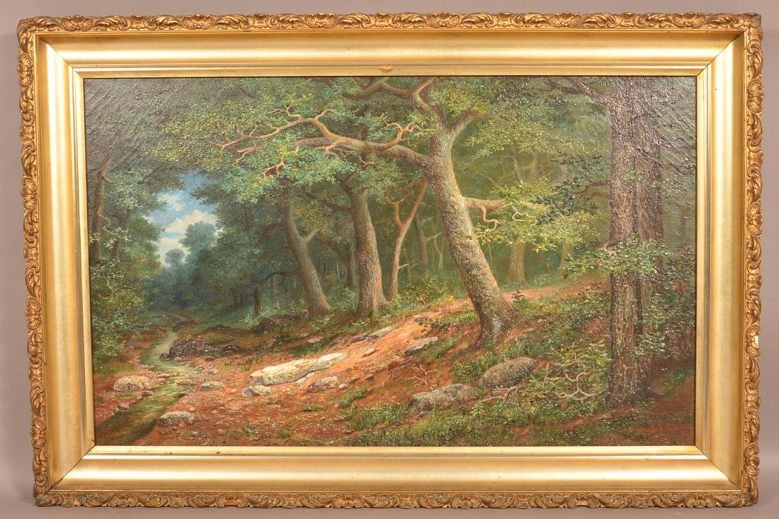 E.S. Reeser Oil on Canvas Wooded Landscape Painting.