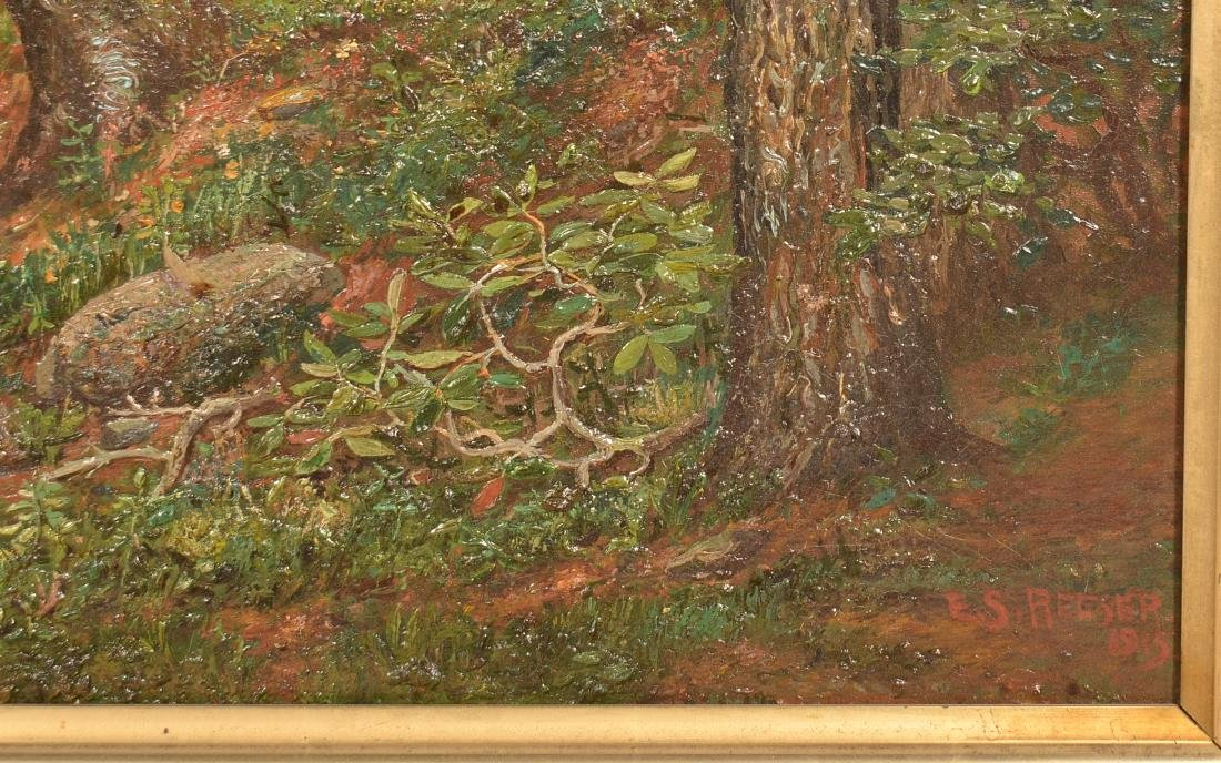 E.S. Reeser Oil on Canvas Wooded Landscape Painting. - 3