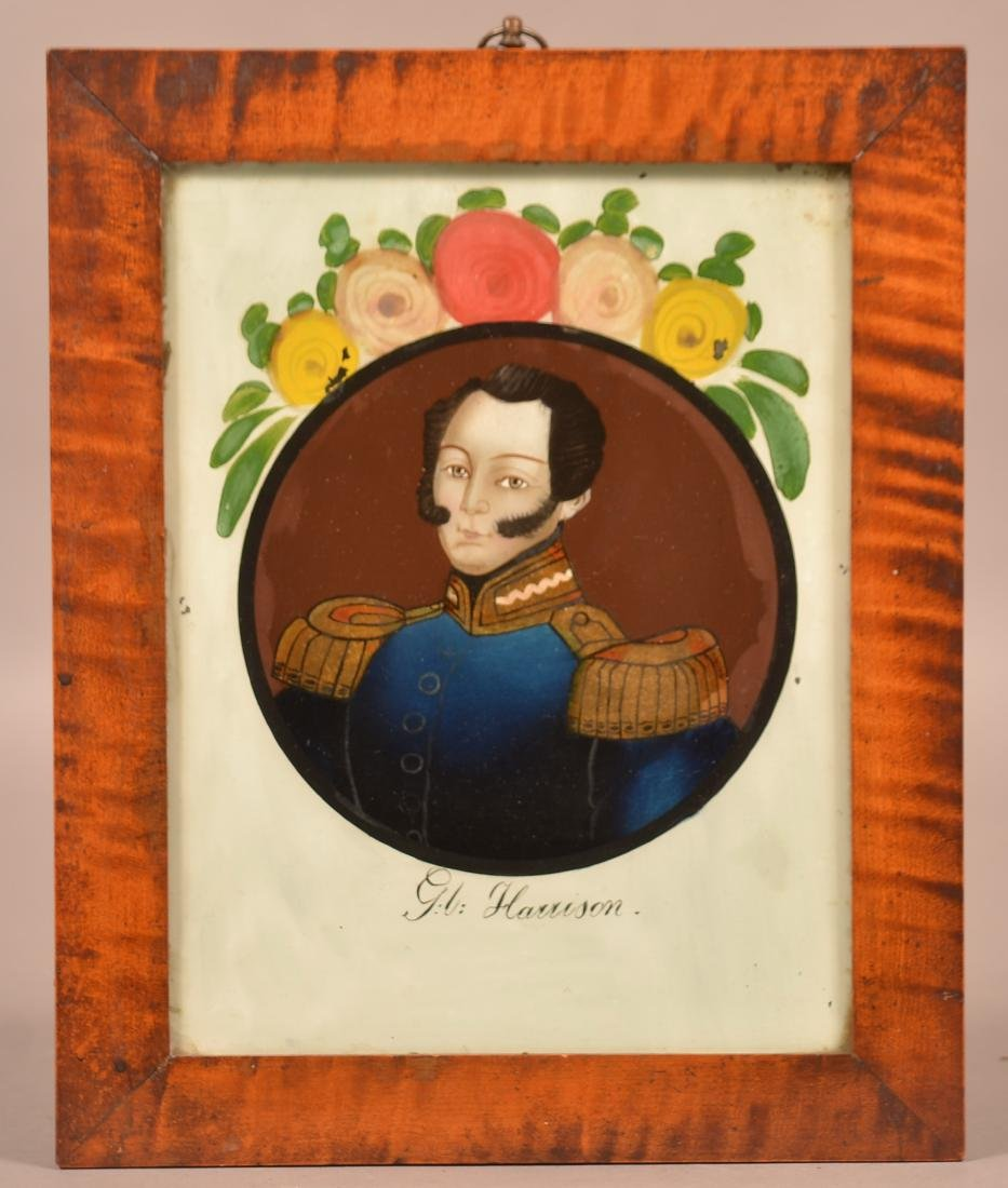 Reverse Painting on Glass of Admiral G.L. Harrison.