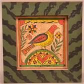 D. Y. Ellinger Watercolor on Paper of a Bird.