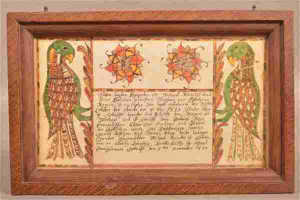 Printed Copy of an Otto 1820 Berks County, PA Fraktur.