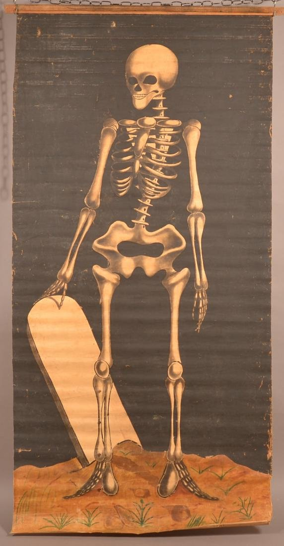 Vintage Painting on Canvas Skeleton Banner.