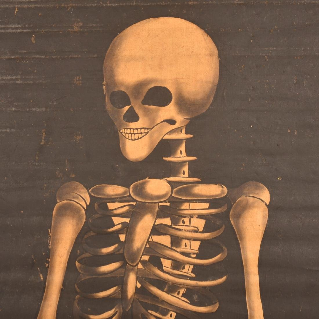 Vintage Painting on Canvas Skeleton Banner. - 2
