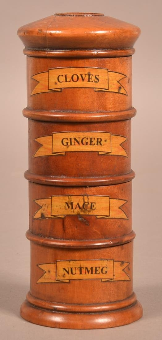 Antique Treenware Stacking Spice Canister.