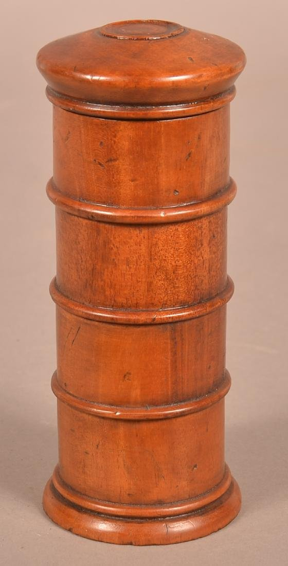 Antique Treenware Stacking Spice Canister. - 2