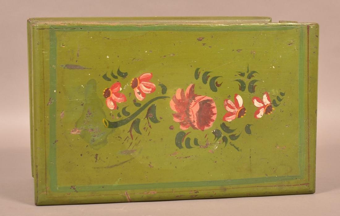 Antique Softwood Paint Dec. Miniature Blanket Chest. - 4