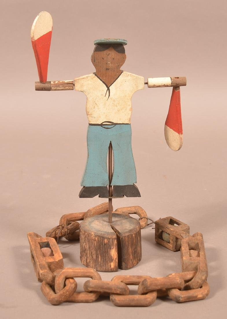 Folk Art Carved Chain Whimsy and Sailor Whirly-Gig.