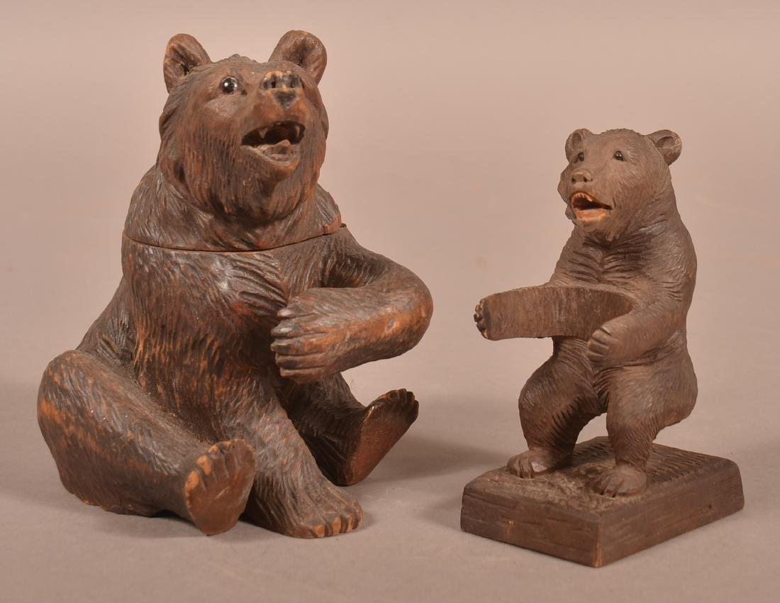 Two Black Forest Carved Bear Match Holders.