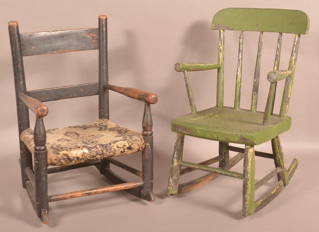 Two Various Antique Child's Rocking Chairs.