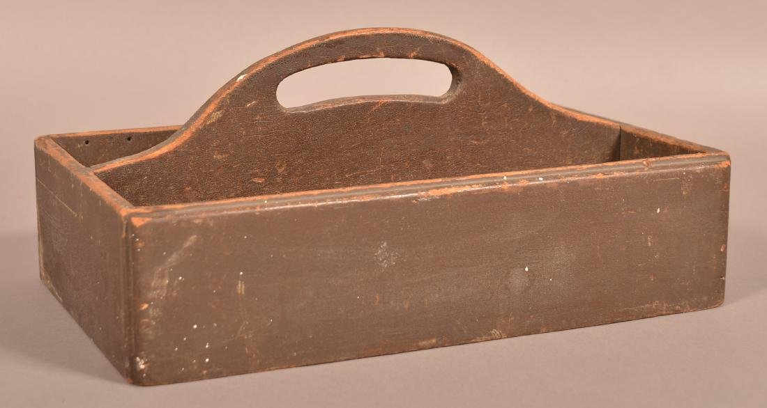 Softwood Utensil Carrier with Original Brown Paint.