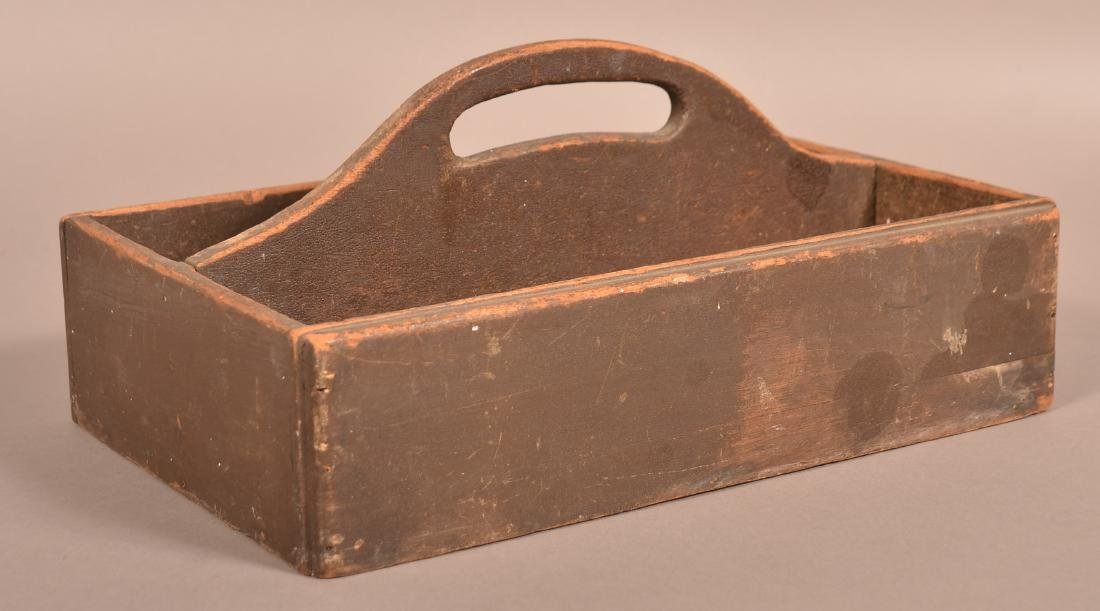 Softwood Utensil Carrier with Original Brown Paint. - 2