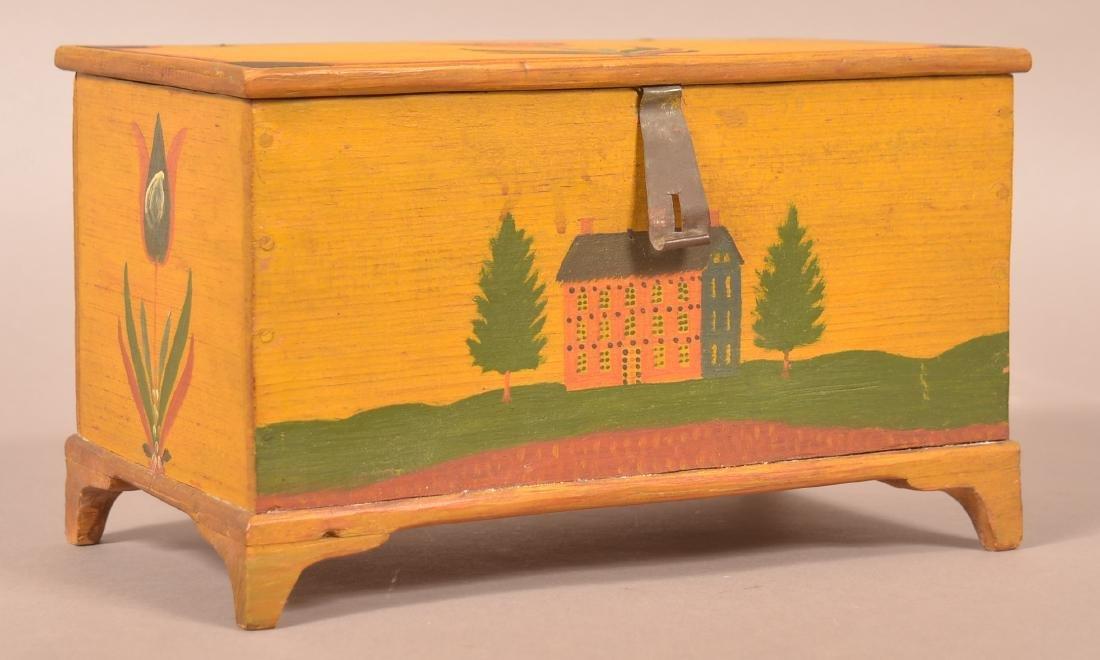 Extremely Fine Jonas Weber Painted Pine Trinket Box. - 10