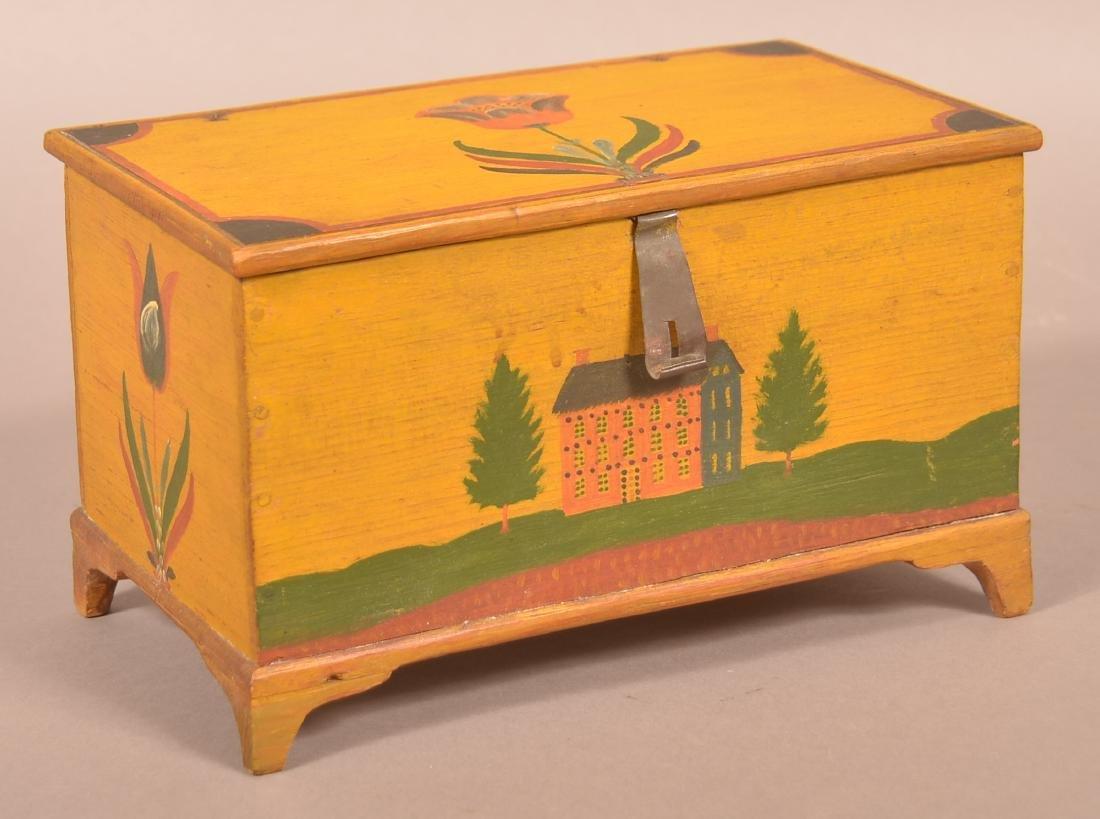 Extremely Fine Jonas Weber Painted Pine Trinket Box.