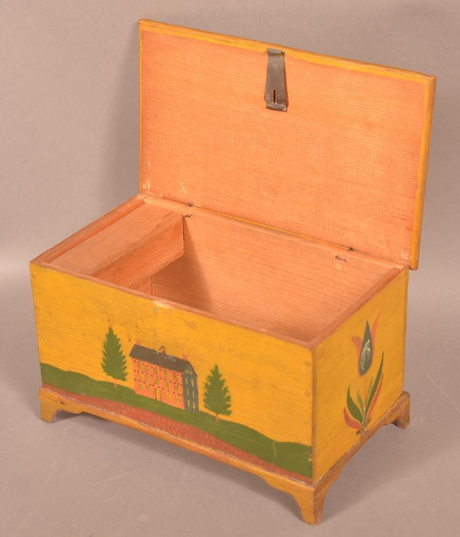 Extremely Fine Jonas Weber Painted Pine Trinket Box. - 9