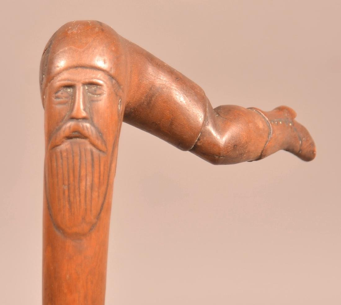 19th/Early 20th Century Folk Art Carved Maple Cane.