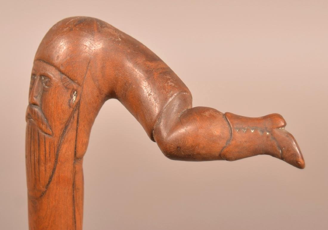 19th/Early 20th Century Folk Art Carved Maple Cane. - 2