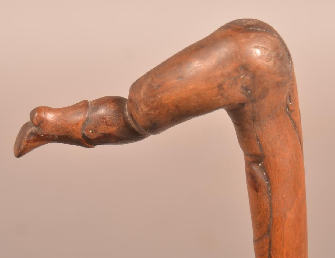 19th/Early 20th Century Folk Art Carved Maple Cane. - 3