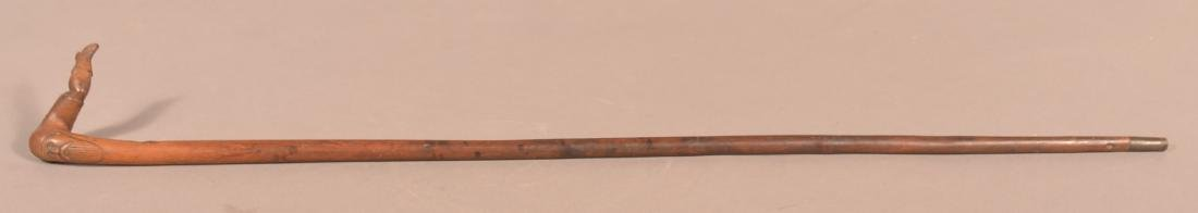 19th/Early 20th Century Folk Art Carved Maple Cane. - 5