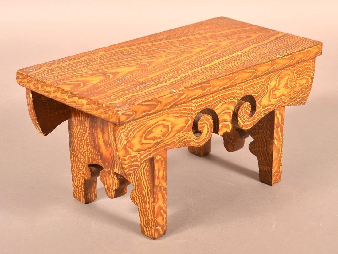Early 20th Century Grain Paint Decorated Footstool.