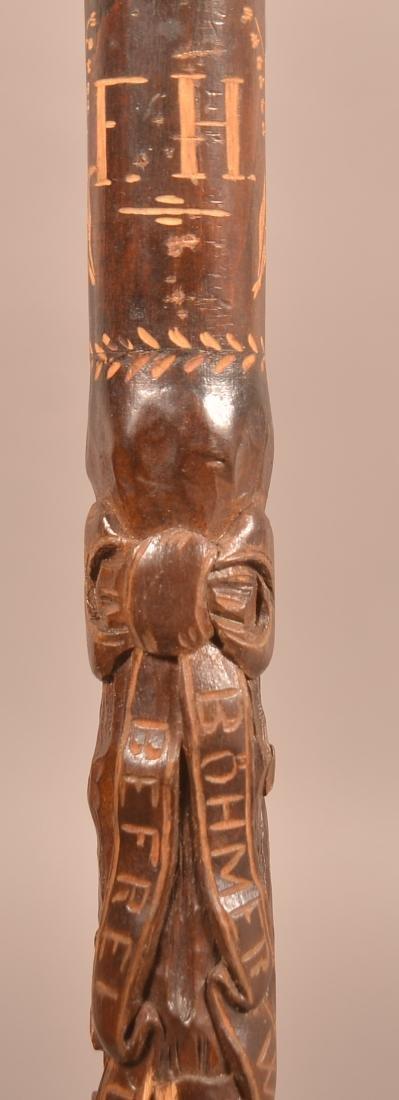 Vintage German Acorn and Leaf Carved Cane Dated 1938.