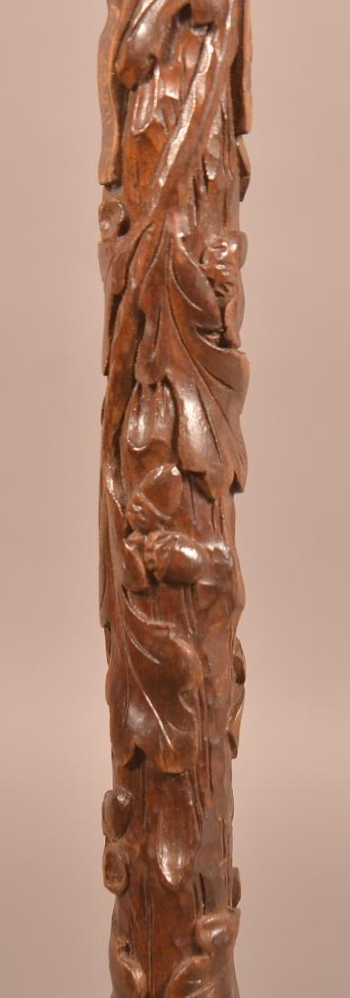 Vintage German Acorn and Leaf Carved Cane Dated 1938. - 5