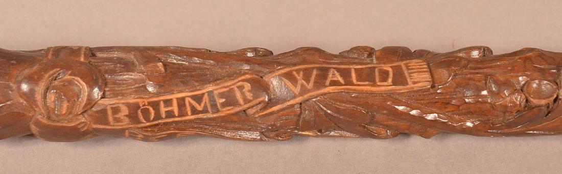 Vintage German Acorn and Leaf Carved Cane Dated 1938. - 7
