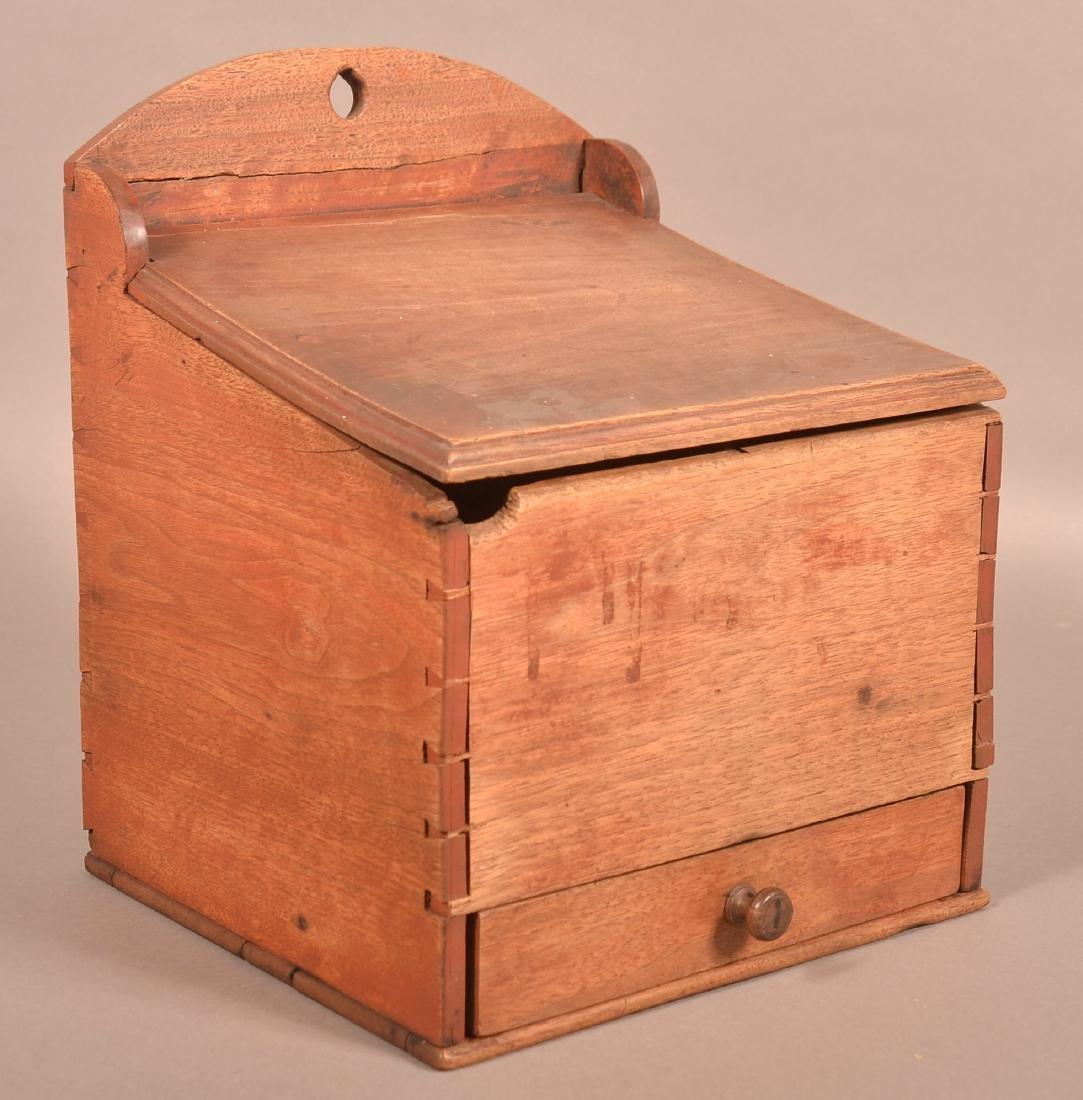 Pennsylvania 19th Century Walnut Hanging Salt Box.