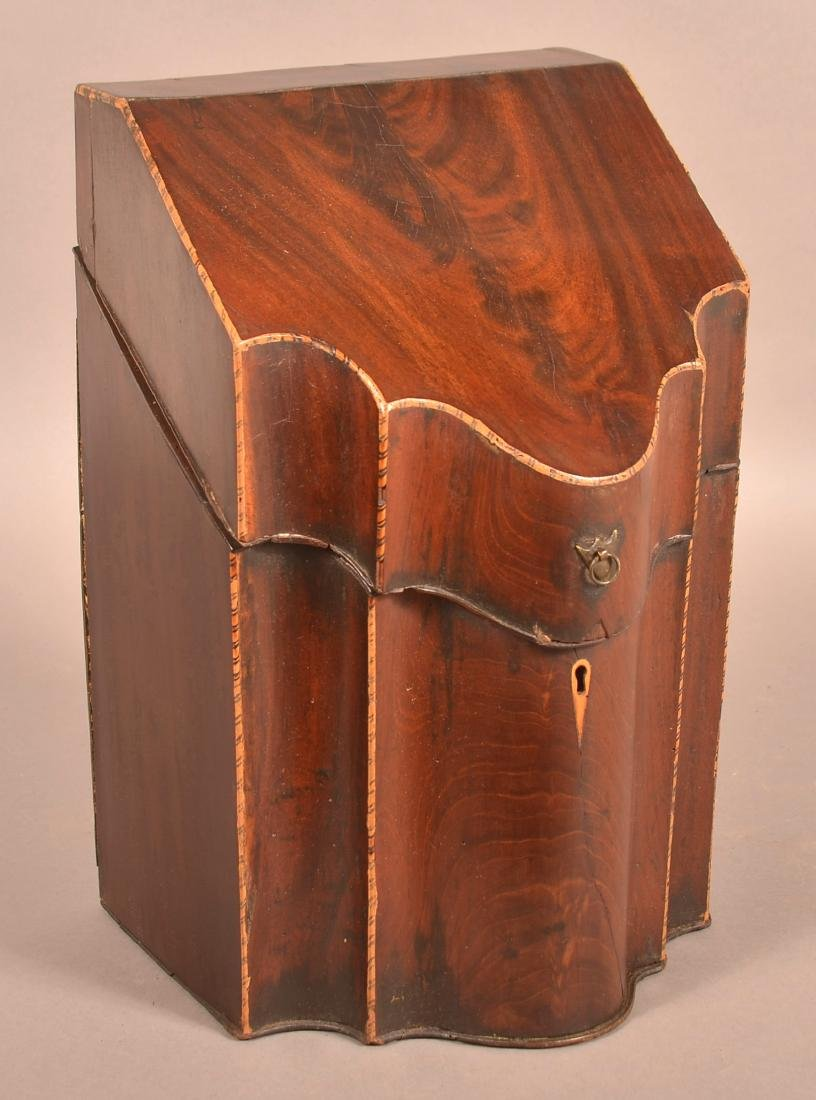 Federal Mahogany Veneered Serpentine Front Knife Box.