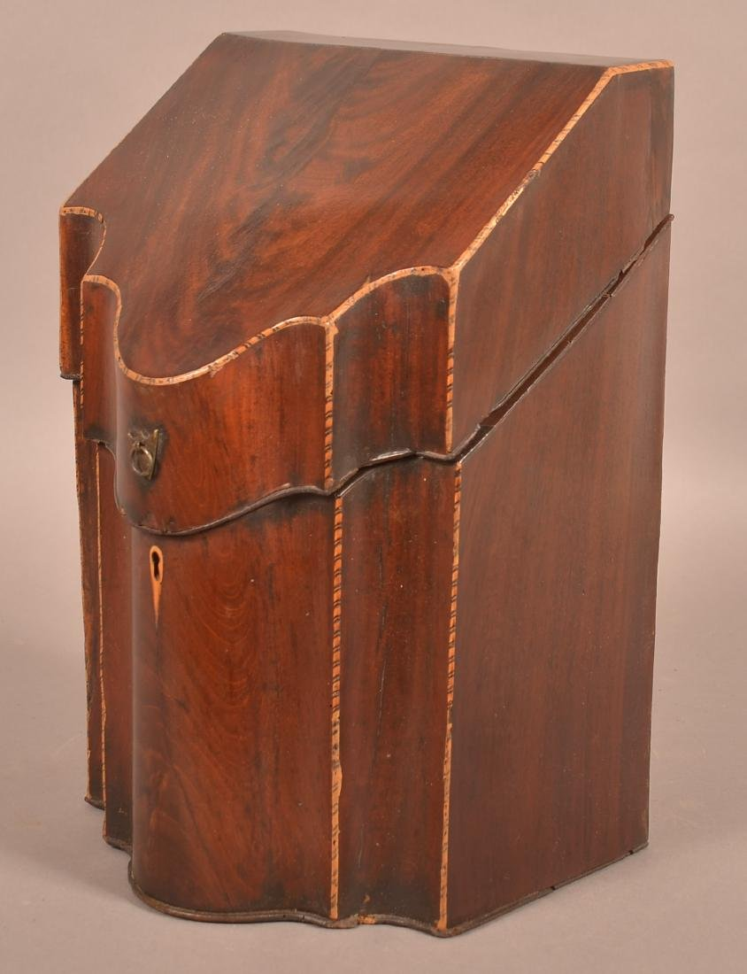 Federal Mahogany Veneered Serpentine Front Knife Box. - 2