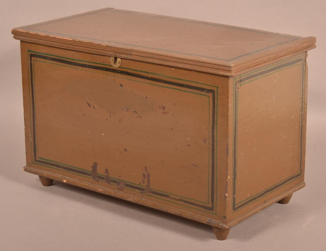 PA 19th Century Softwood Miniature Blanket Chest. - 3